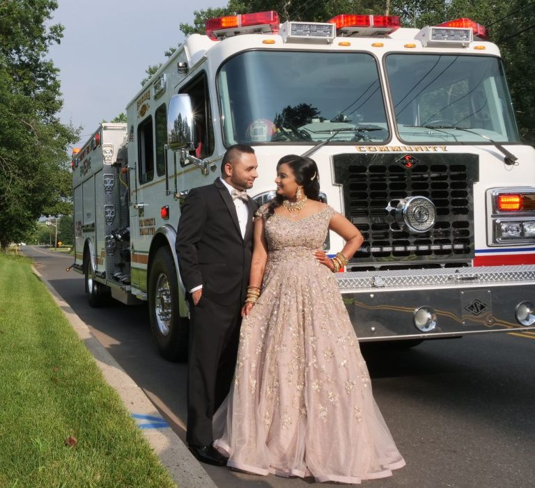 Fire truck Indian Wedding